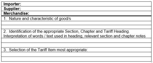 simple tariff classification report